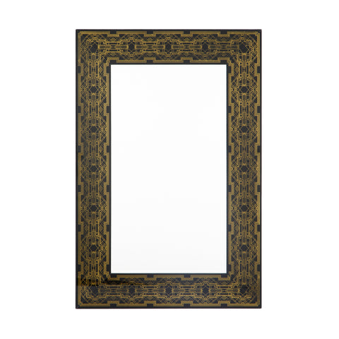 Jugend Black and Gold Art Deco Mirror