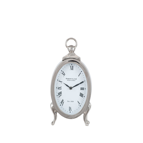 Silver Metal Oval Standing Table Clock