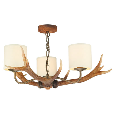 Antler 3 Light Pendant Highland Rustic Complete with Bespoke Shades