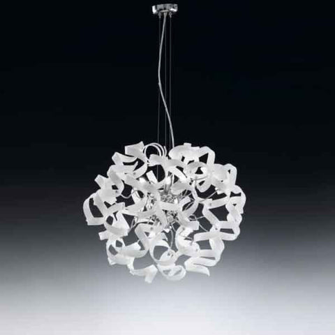 Astro 6 Lt Chandelier White and Chrome Metal Lux Lighting 206.150.02