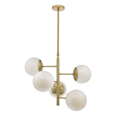 Bombazine 5lt Pendant Brass and Opal Glass BOM0535 där Lighting