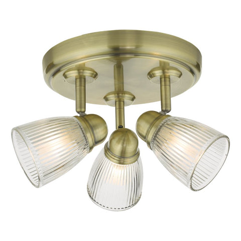 Cedric 3 Light Flush IP44 CED7675 Antique Brass där Lighting