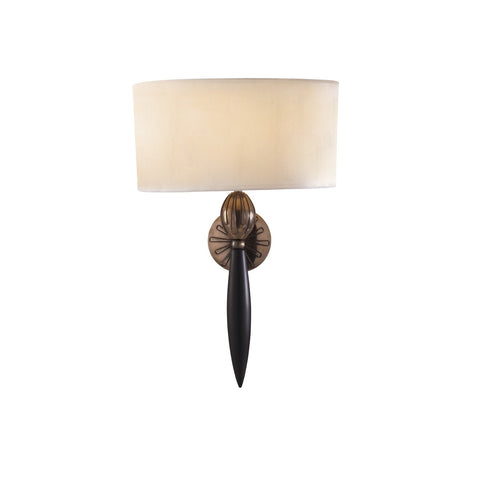 Contour Wall Light Black Bronze With White Silk Shade CON0763 David Hunt Lighting