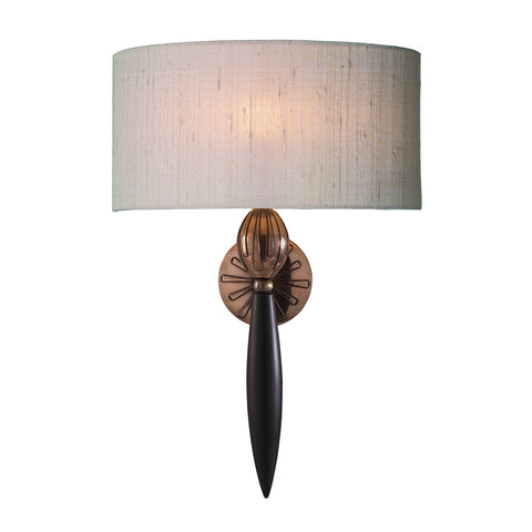 Contour Wall Light Black Bronze With Silk Shade CON0799 David Hunt Lighting
