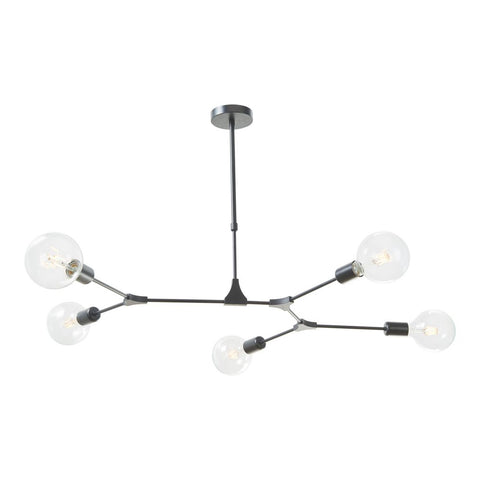 Euphemia 5 Light Pendant in Black där lighting EUP0539