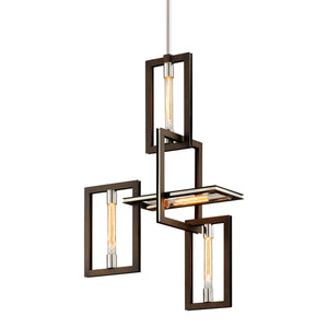 Enigma Pendant F6184-CE Bronze with Polished Stainless Troy Lighting