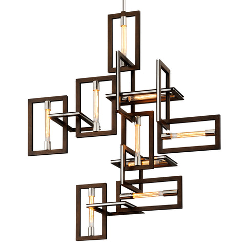 Enigma Pendant F6189-CE Bronze with Polished Stainless Troy Lighting