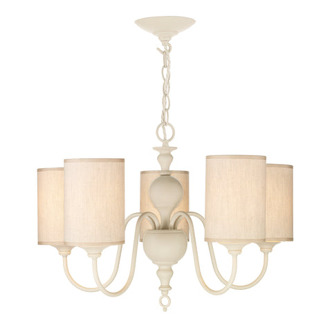 Flemish 5 Lt Pendant Cream Complete with Shades FLE0533
