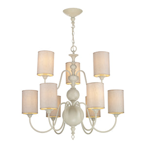 Flemish 9 Lt Pendant Cream Complete with Shades FLE1333