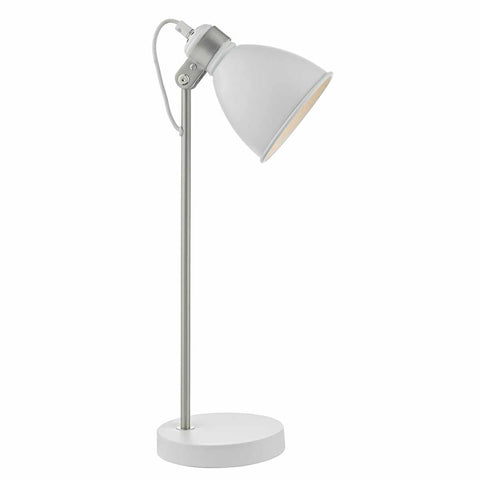 Frederick Task Table Lamp White and Satin Chrome FRE4202 där lighting