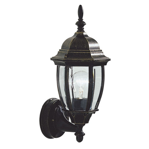 Hambro Uplighter Garden Wall Light HAM162235 Black Gold Finish