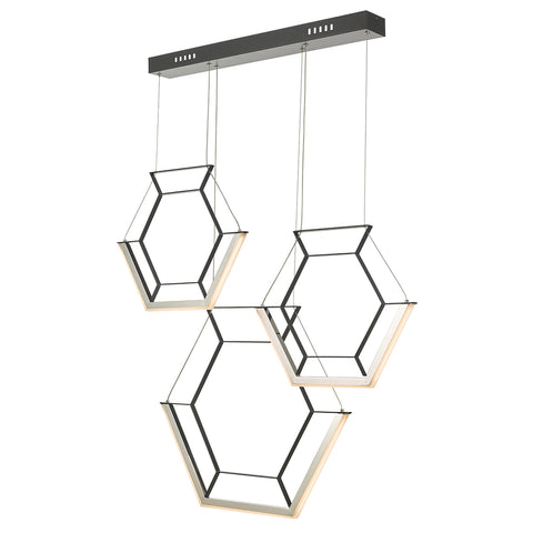 Hexagon Bar Pendant HEX0322 Black där lighting