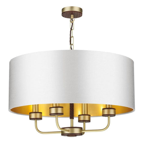 Hunter 4 Lt Pendant Brass with Bespoke Shade David Hunt Lighting HUN0440