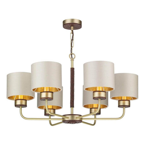 Hunter 6 Lt Pendant Brass with Bespoke Shades David Hunt Lighting HUN0640