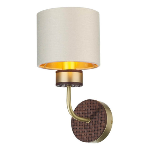 Hunter Wall Light Brass with Bespoke Shade David Hunt Lighting HUN0740
