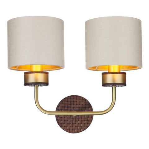 Hunter Double Wall Light Brass with Bespoke Shade David Hunt Lighting HUN0940