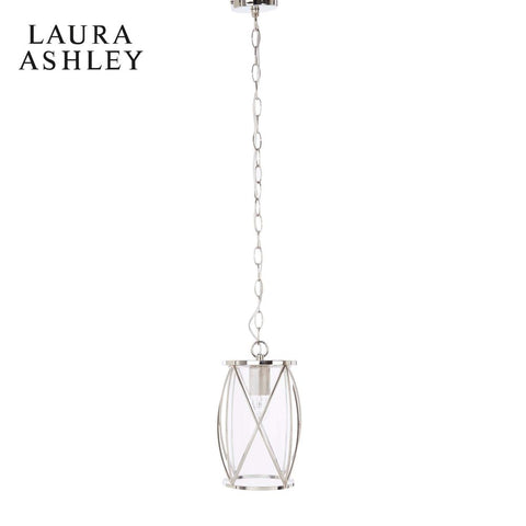Laura Ashley Beckworth Pendant Polished Nickel and Glass