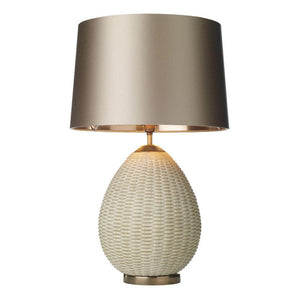 Lombok Rattan Effect Lamp Cream and Gold David Hunt Lighting LOM4212