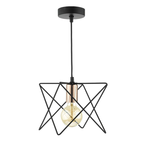 Midi 1 Lt Pendant Matt Black and Copper MID0122