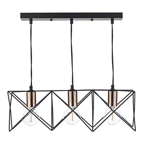 Midi 3 Lt Pendant Matt Black and Copper MID0322