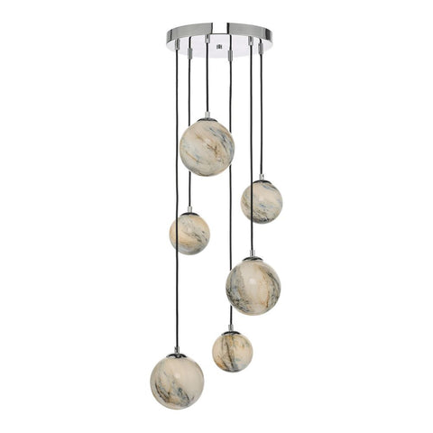 Mikara 6 lt Cluster with Marble Effect Glass där lighting MIK0650