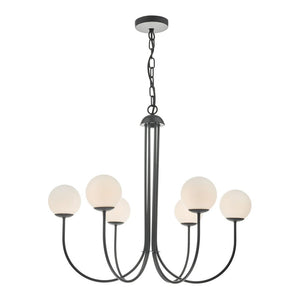 Ornella 6 Lt Pendant Matt Black and Opal där lighting