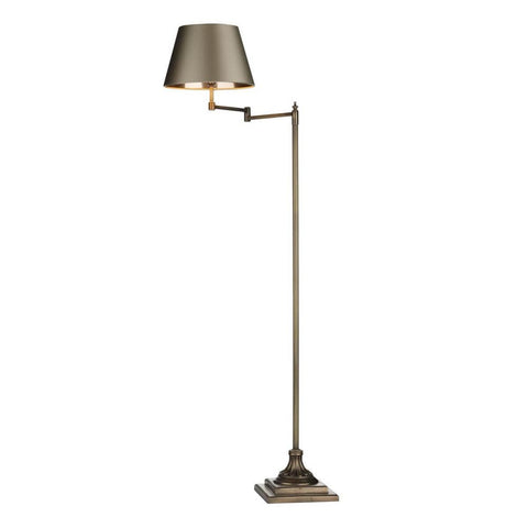 Pimlico Floor Lamp Antique Brass Left Swing Arm David Hunt Lighting PIM4975L