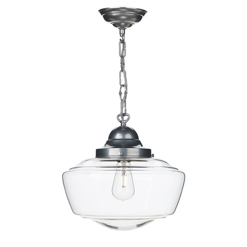 Stowe Glass Pendant Satin Chrome Clear Glass STO0146