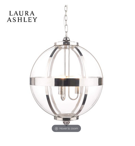 Laura Ashley Odiham Globe Lantern Polished Nickel Large