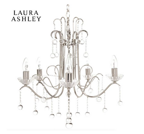 Laura Ashley Charlotte 5 Light Chandelier Polished Nickel