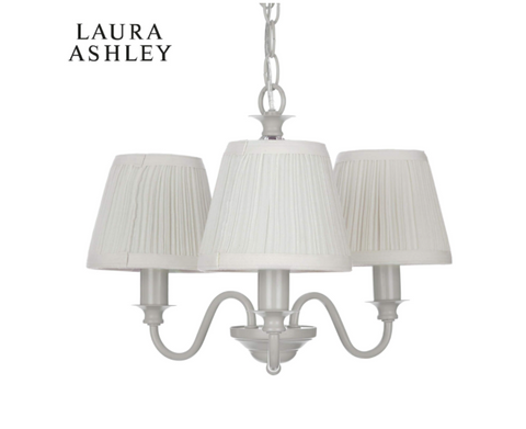 Laura Ashley Ellis 3 Light Grey Pendant with Shades