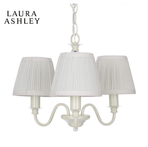 Laura Ashley Ellis 3 Light White Pendant with Shades