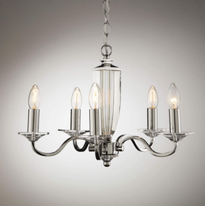 Laura Ashley Carson 5 Light Chandelier Polished Nickel