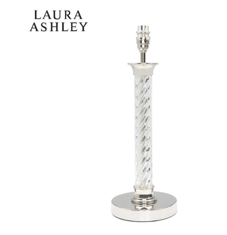 Laura Ashley Louis Twisted Table Lamp Base Polished Nickel and Glass