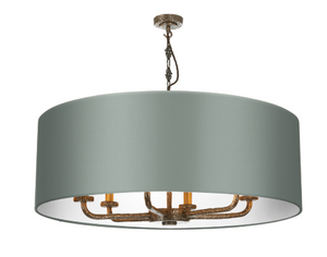 Sloane 6LT Drum Shade Antique Brass Pendant SLO8600 David Hunt Lighting