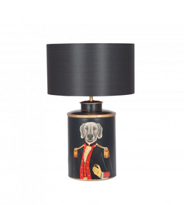 Weimaraner Black Hand painted  Dog Metal Table Lamp