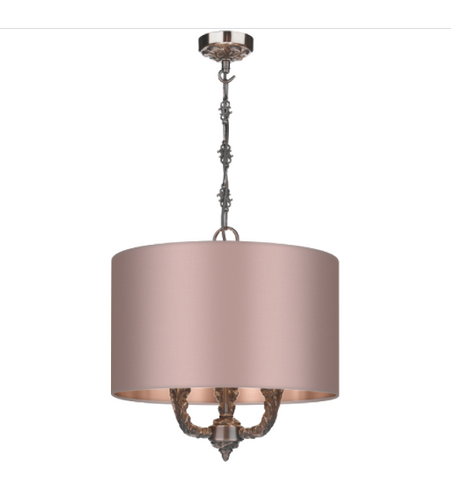 Valerio 3 Light Pendant Complete with Silk Shade David Hunt Lighting