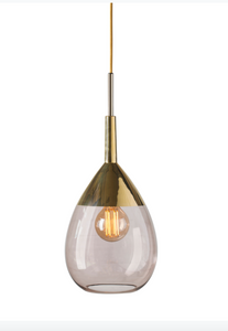 Lute Small Glass Pendant Light Gold Various Colours Ebb and Flow