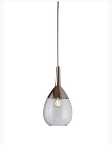 Lute Small Glass Pendant Light Silver Various Colours Ebb and Flow