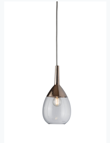 Lute Med Glass Pendant Light Silver Various Colours Ebb and Flow