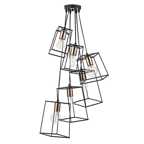 Tower 6 Lt Cluster Black and Copper TOW0622