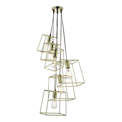 Tower 6lt Cluster Pendant in Gold där lighting TOW0635