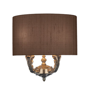 Valerio Wall Light Bronze With Silk Shade VAL0900 David Hunt Lighting