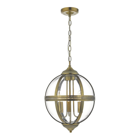 Vanessa Antique Brass and Glass 3lt Lantern där lighting VAN0375