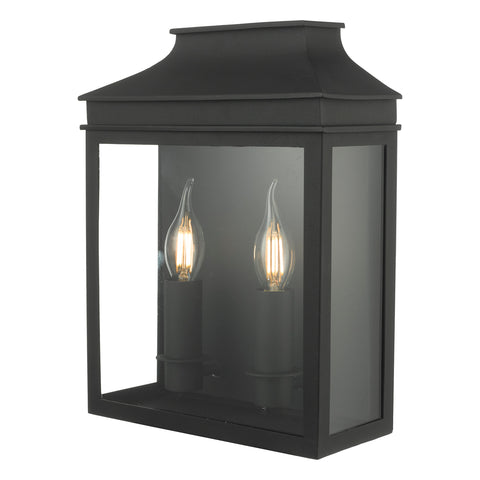 Vapour 2LT Coach Lantern Wall Light Black VAP5022 där lighting