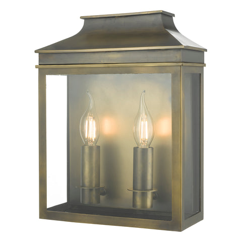 Vapour 2LT Coach Lantern Weathered Brass VAP5045 där lighting