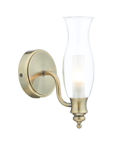 Vestry Wall Light IP44 VES0775 Antique Brass där lighting