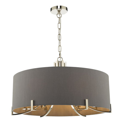 Veyron 6 Light Pendant Polished Nickel grey Shade där Lighting VEY0639