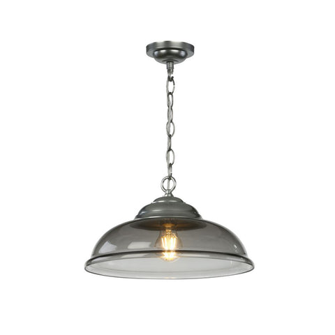Webster Pendant Smoke Glass Chrome David Hunt Lighting WEB0110C