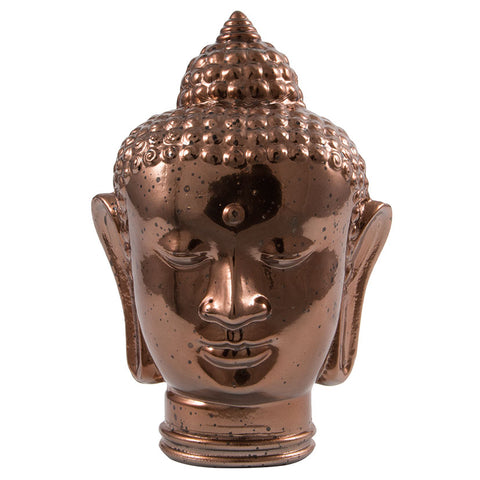 Glass Buddah Head Antique Brass